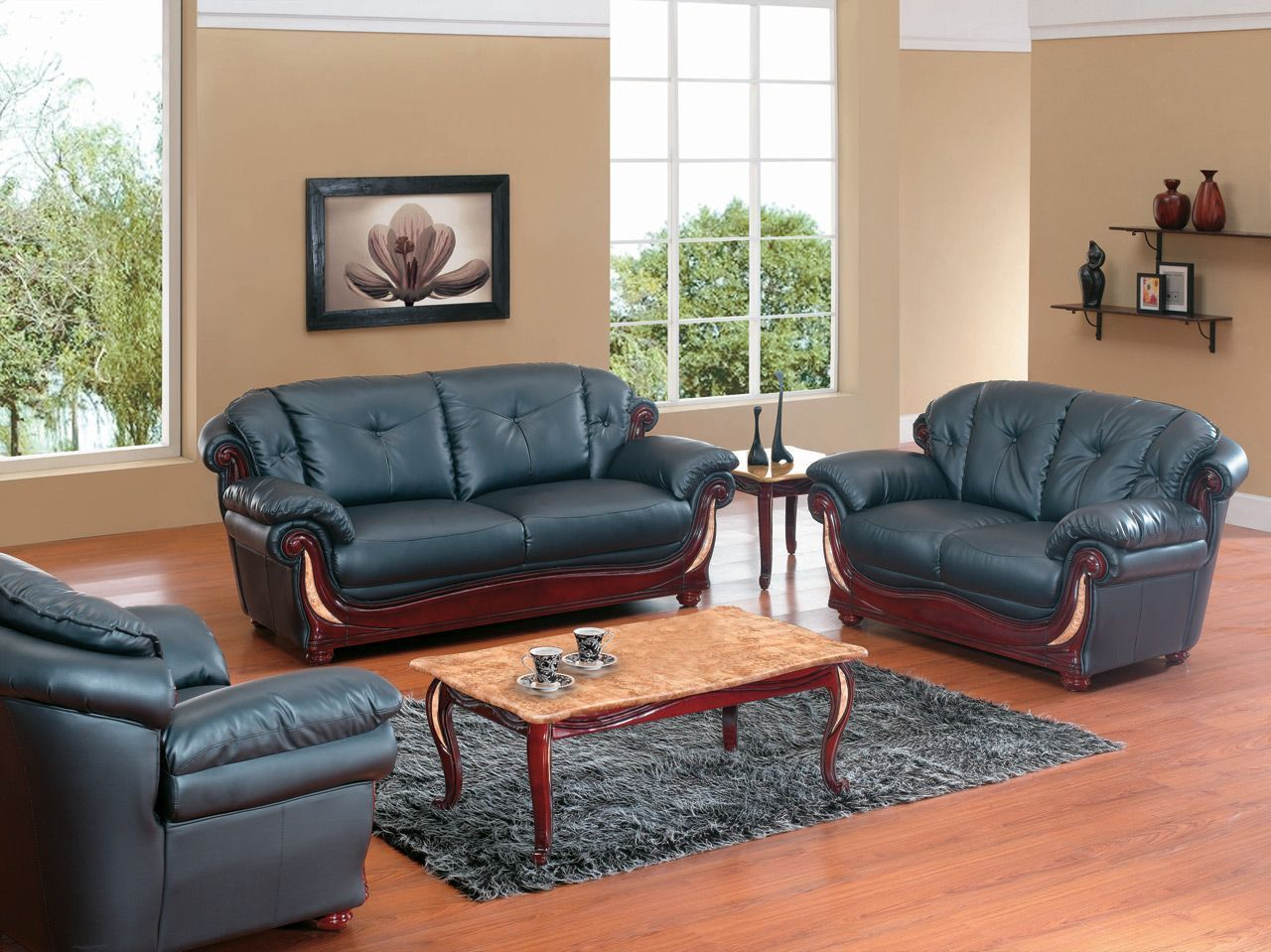 Black Leather With Wood Living Room Set 7991 Black Living Room Sets Living Room Wood Wood Sofa