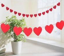 3 metro carta de amor del corazón no tejidos de tela de fiesta de la bandera guirnalda de decoración wedding Banner Bunting para la boda evento(China (Mainland))