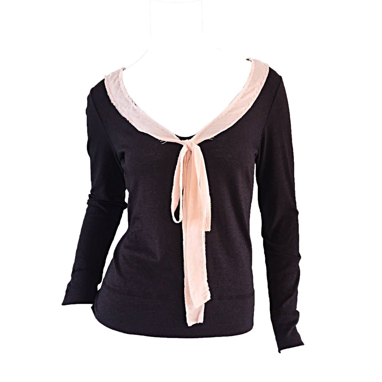 Moschino Cheap And Chic Brown   Pink Wool & Cotton Sweater Top w ...