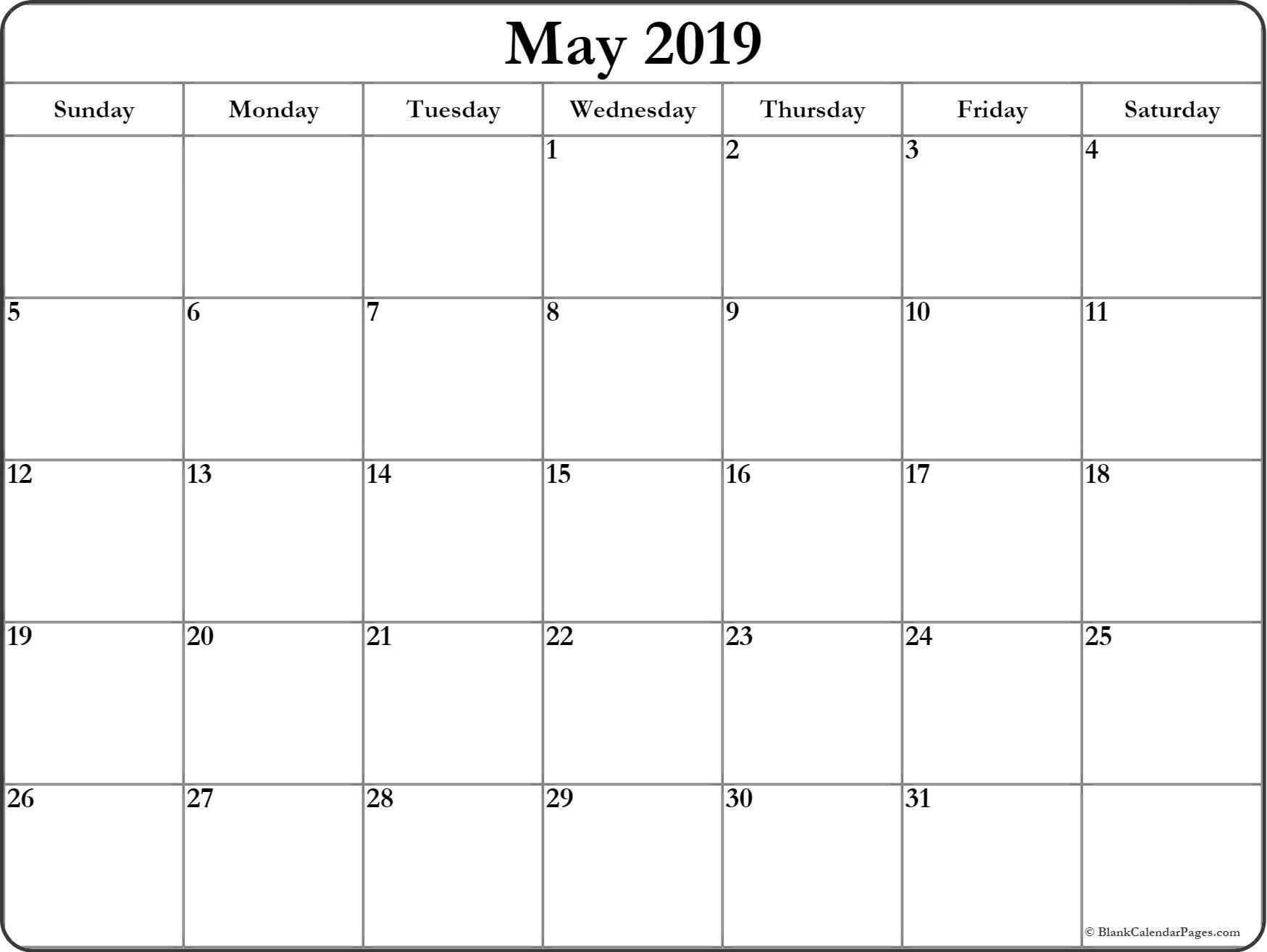 May Calendar Printable Template In Landscape Portrait