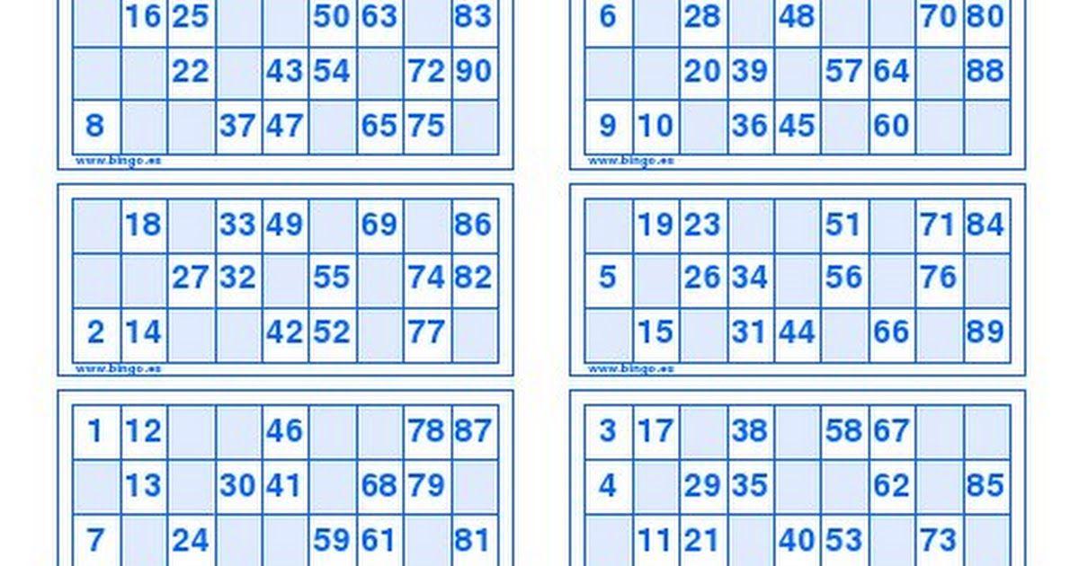 Cartones Bingo 90 Bolas Pdf Cartones De Bingo Cartas De Bingo Bingo