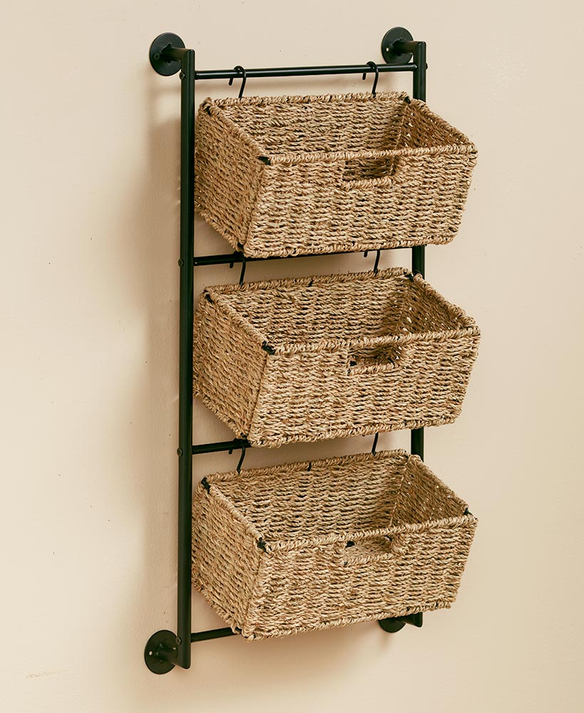 Hanging Seagrass Wall Baskets In 2020 Baskets On Wall Wall Basket Storage Home Decor Kitchen