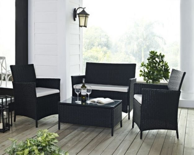 Home 4 Seater Sofa Set With Cushions Outdoor Patio Furniture Decor