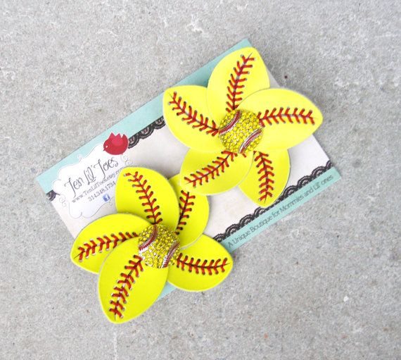 d8d73b973dc20 Softball Flip Flop Clips - Softball Mom Accessory - Softball Jewelry - Softball  Hair Clip - Softball Bow - Softball Headband