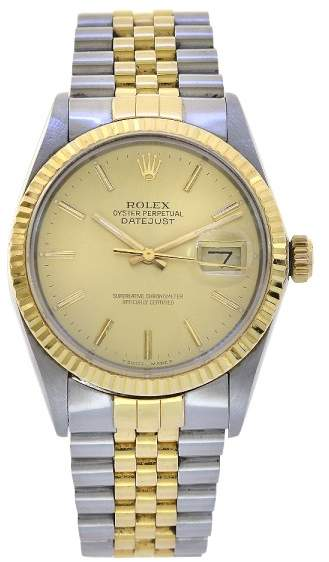 4f5a4dfaf4a Rolex Datejust 16233 Stainless Steel & 18K Yellow Gold Champagne Dial  Automatic 36mm Mens Watch