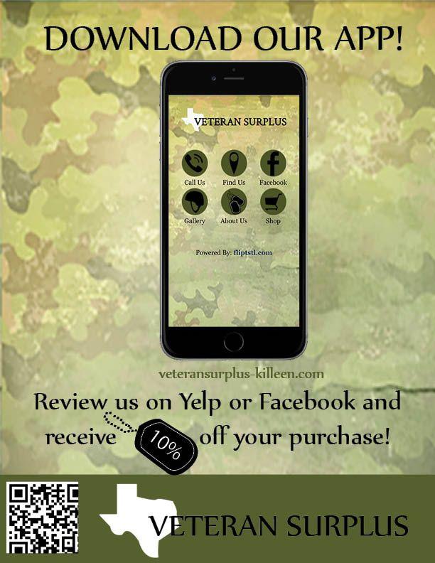 Veteran Surplus Flyer Graphic Design Download Our App