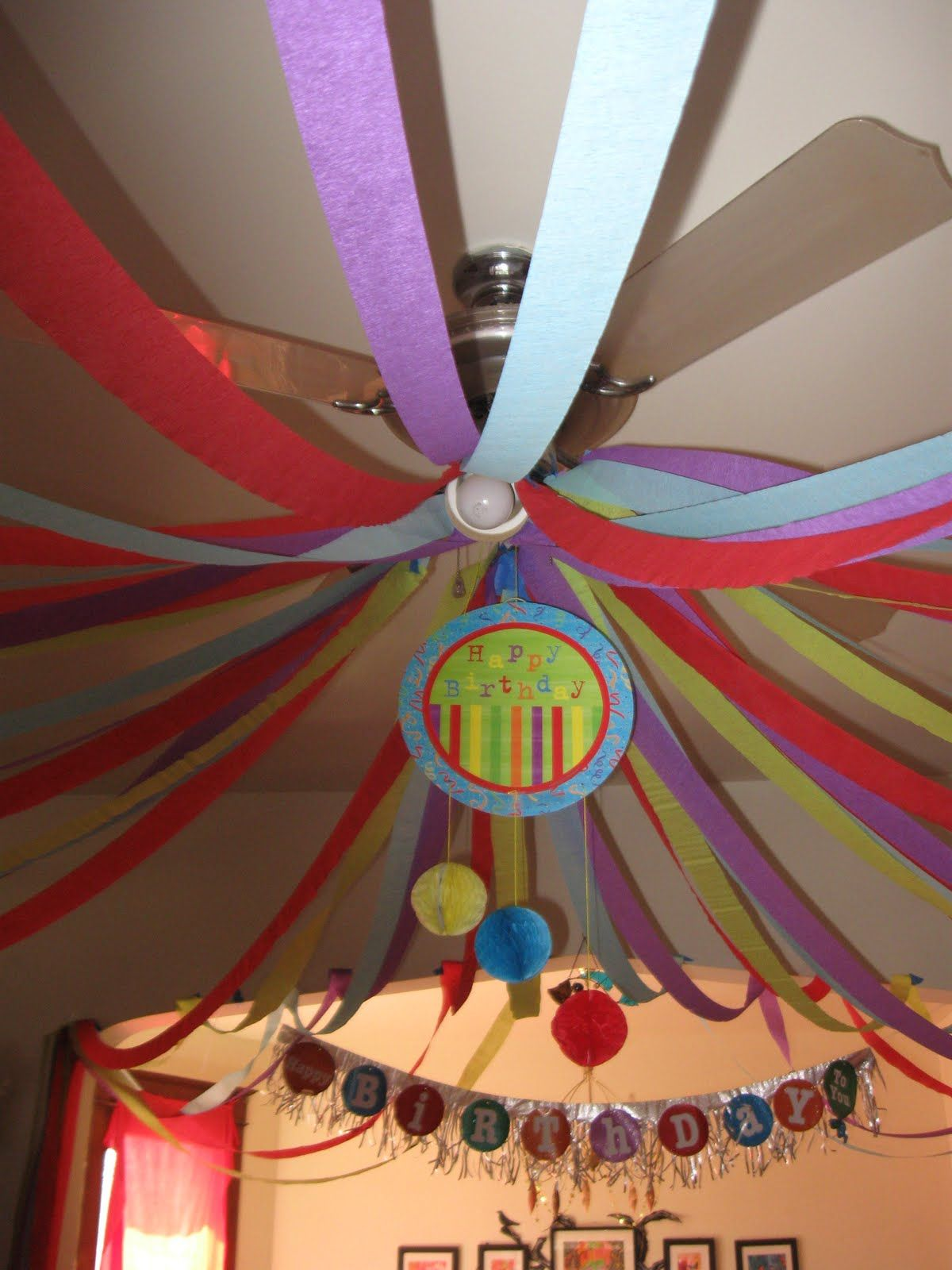 Crepe paper streamers decoration from light fixture ...