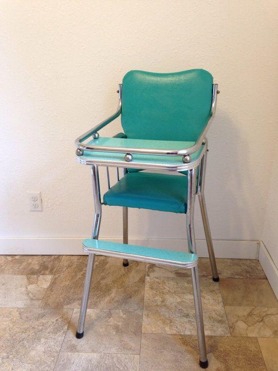 High Chair Vintage Aqua And Chrome
