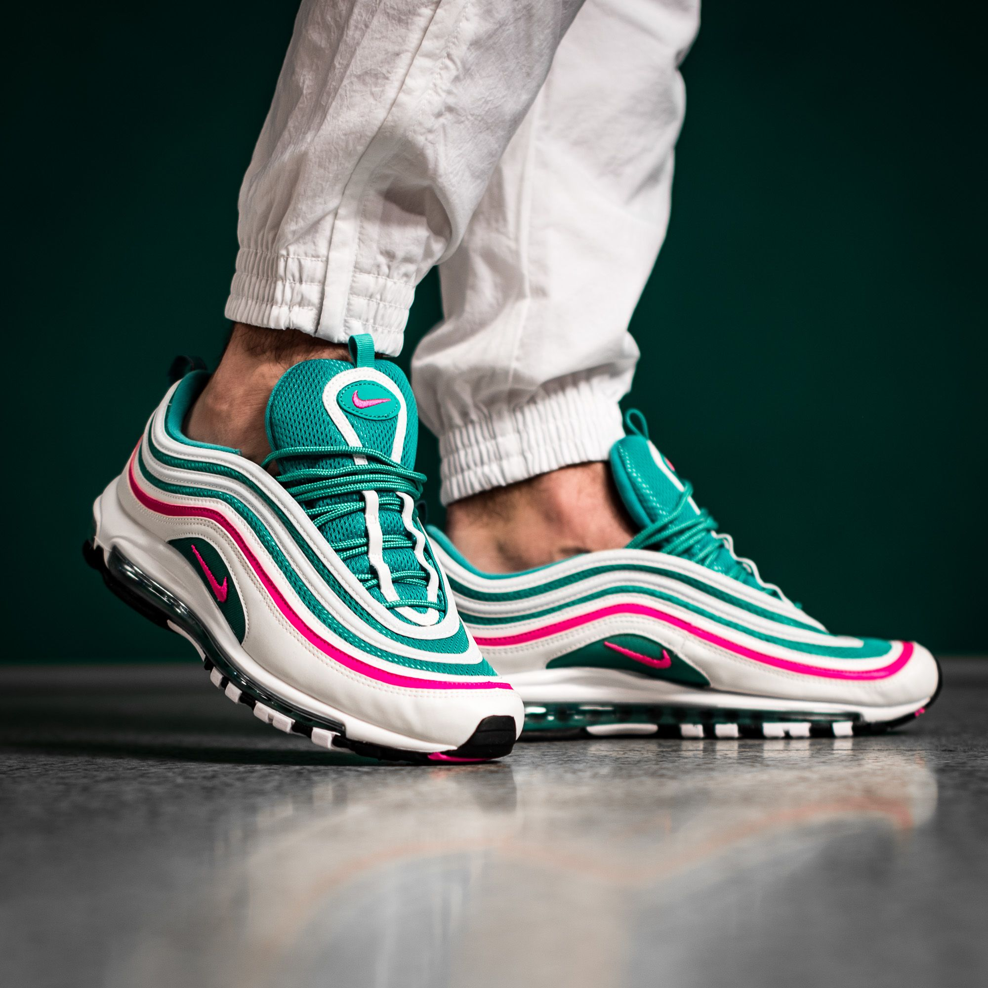 Take Your Talents To South Beach In This Nike Air Max 97 This Upcoming Southbeach Colorway Features A Flashy White Pink Gre Air Max 97 Nike Air Max Sneaker