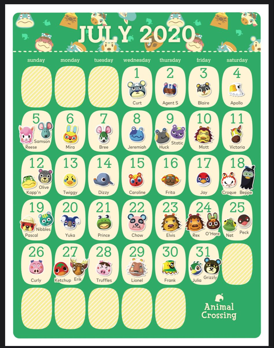 Pin By Kuro On Ac 2020 Calendar Starting In March In 2020 Animal Crossing Characters Animal Crossing Game Animal Crossing Villagers