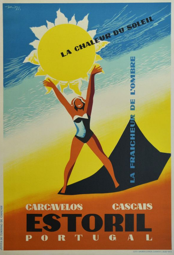 Cascais Portugal Vintage Travel Advertisement Art Poster Print Estoril