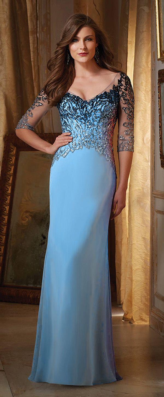 Glamorous Chiffon V-neck Neckline Sheath Mother of The Bride Dresses ...