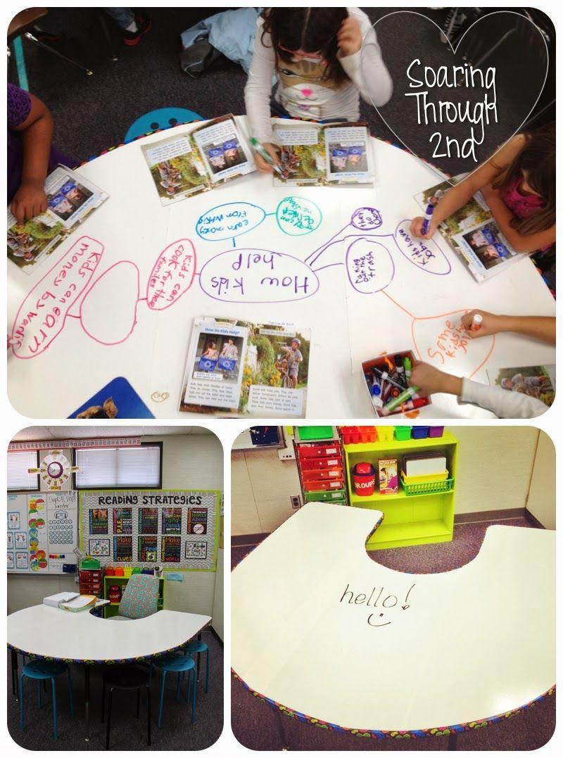 Bright Ideas My Adhesive Whiteboard Table Soaring Through Second Grade School Classroom Creative Classroom Classroom Fun