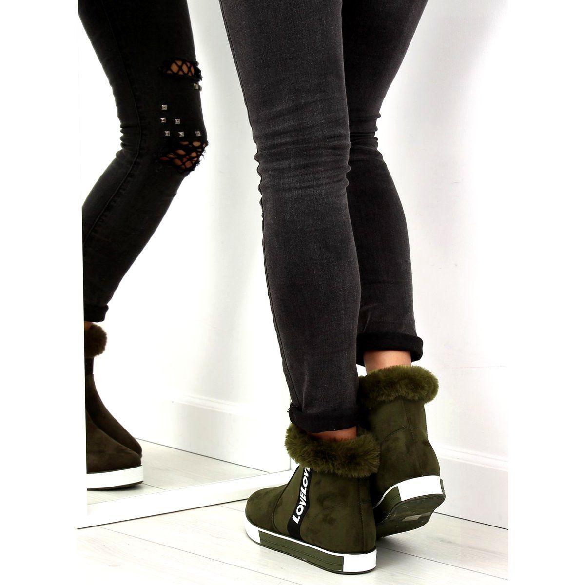 Trampki Damskie Butymodne Trampki Za Kostke Ocieplane Zielone Nb252p Army Green Butymodne Black Jeans Fashion Boots