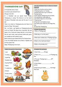Thanksgiving Day Ejercicios De Ingles Ingles Basico Para Niños Actividades De Ingles