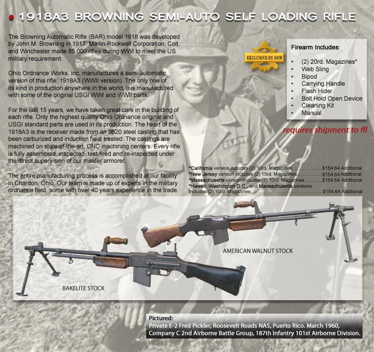 Browning 1918 A 3-SLR - Ohio Ordnance | Guns! | Firearms