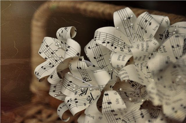 Vintage Music Sheet Paper Flowers Reduce Reuse Recycle