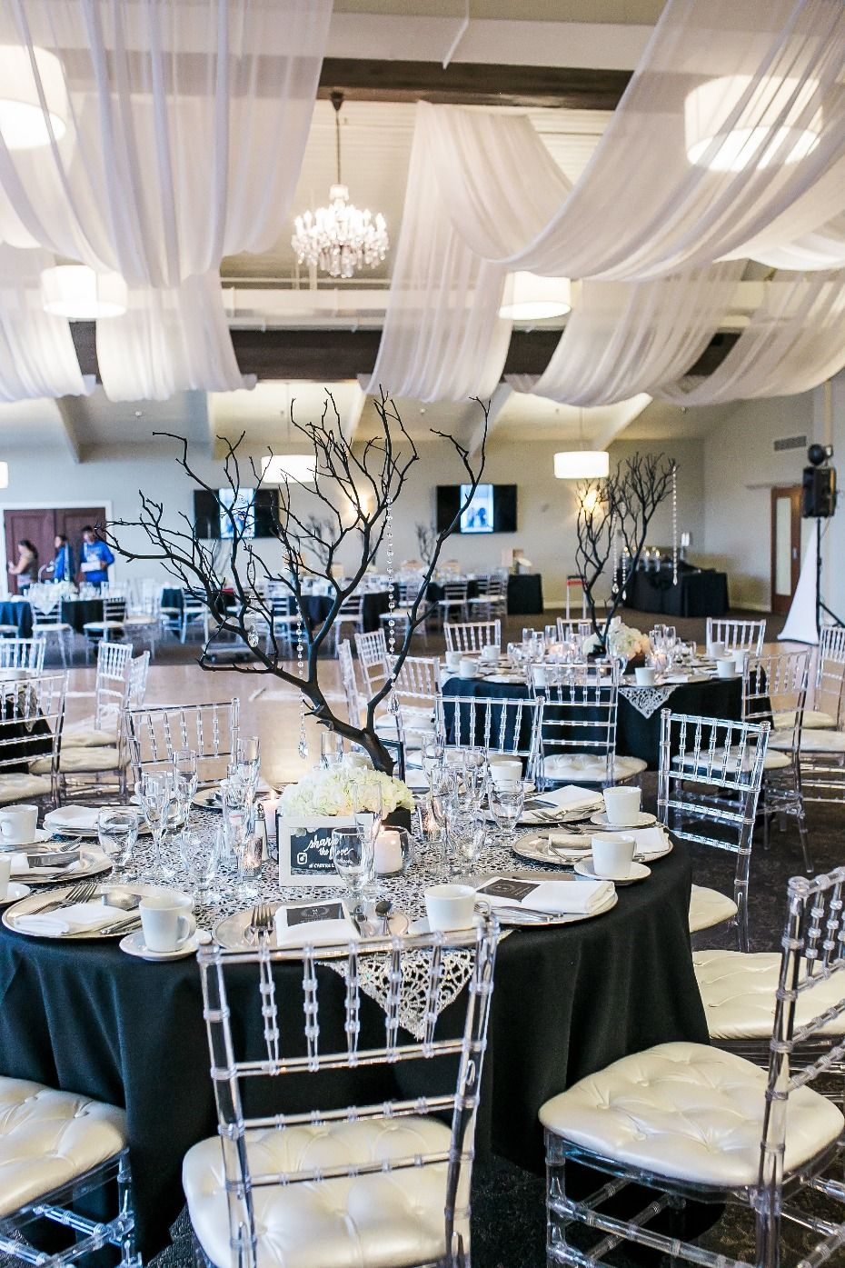 Glam Black And White Reception Red And White Weddings Black And