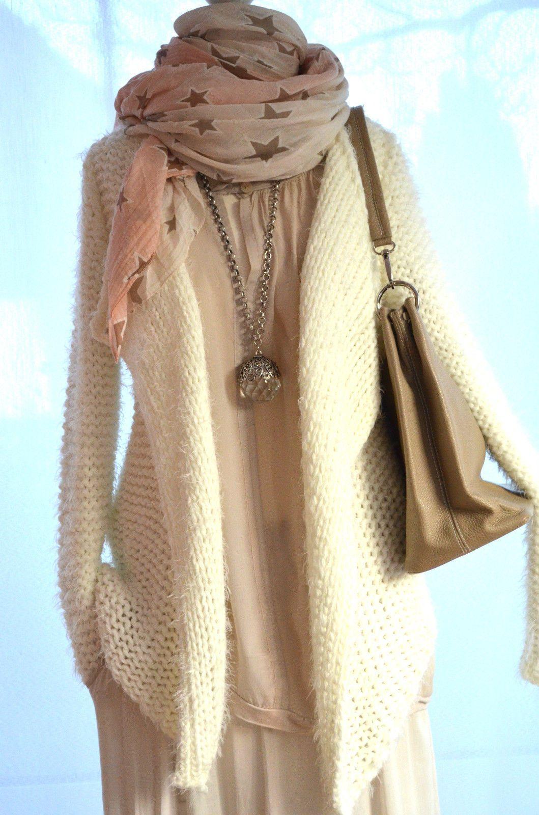 Italy Cardigan*Süße ZOTTEL Strickjacke FLAUSCH*Hippie*Wollweiß*Grob*S/36*NEU | eBay
