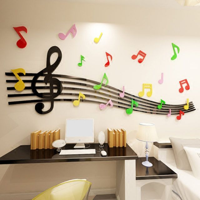 Great Cost-Free Staff Note Acrylic wall sticker For kids room Dance room DIY art wall decor Music c