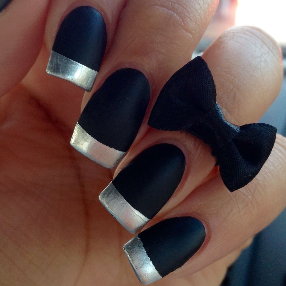 Matte black French manicure nails chrome nail art nail designs ...