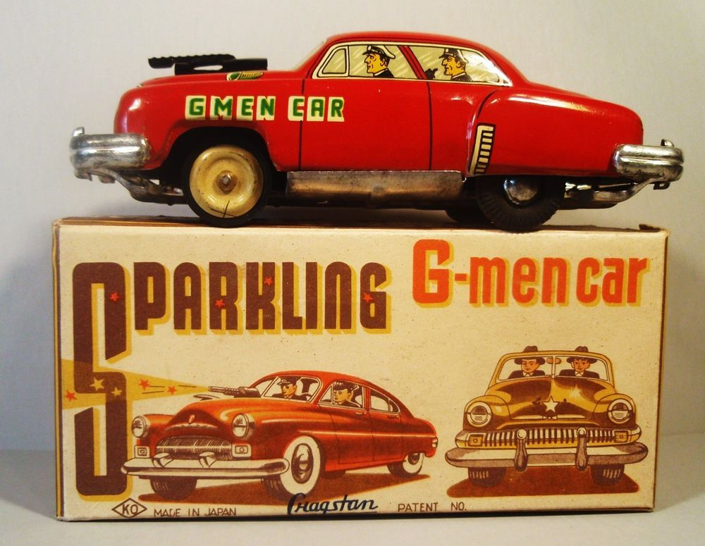 TIN FRICTION 1950'S G MAN GMAN CAR W ORIGINAL BOX YOSHIYA CRAGSTAN