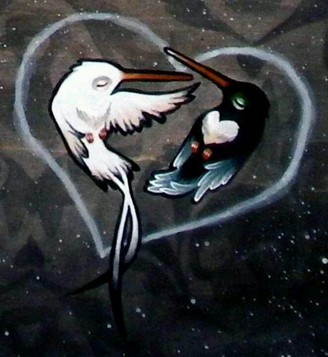 """Detail of the Ghost and Banshee's hummingbirds from """"Together For Life Forever In Death"""""""