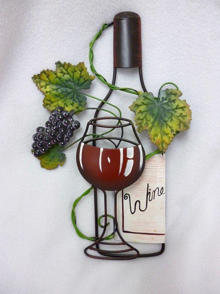 Metal Wall Art Wine Glass Bottle Leaves Red Wine Decor Grapes Wine Wall Art Wine Decor Wine Bottle Glass