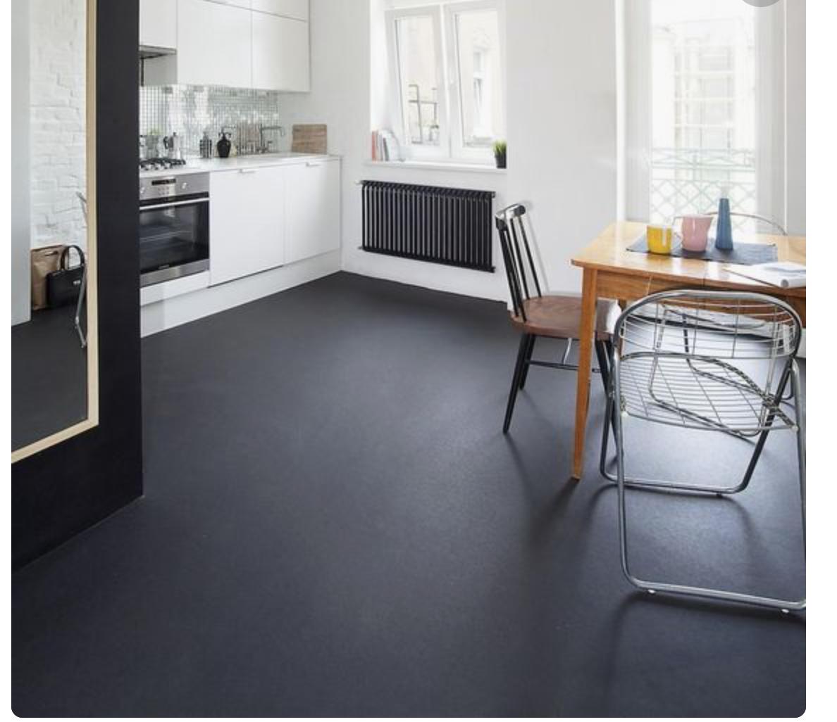 black painted concrete floors   Painted concrete floors, Concrete ...