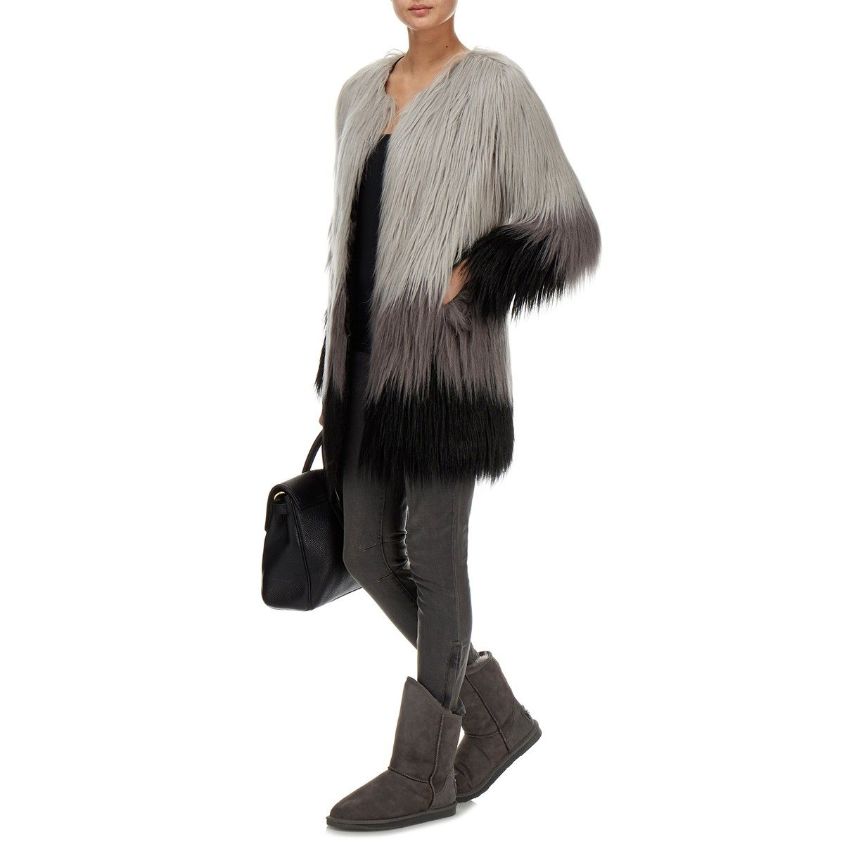 Dawn To Dusk Grey Faux Fur Coat