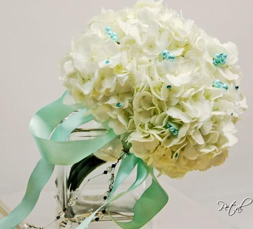 ivory hydrangea with mist pearl details and ribbon from Petals on Palm Beach