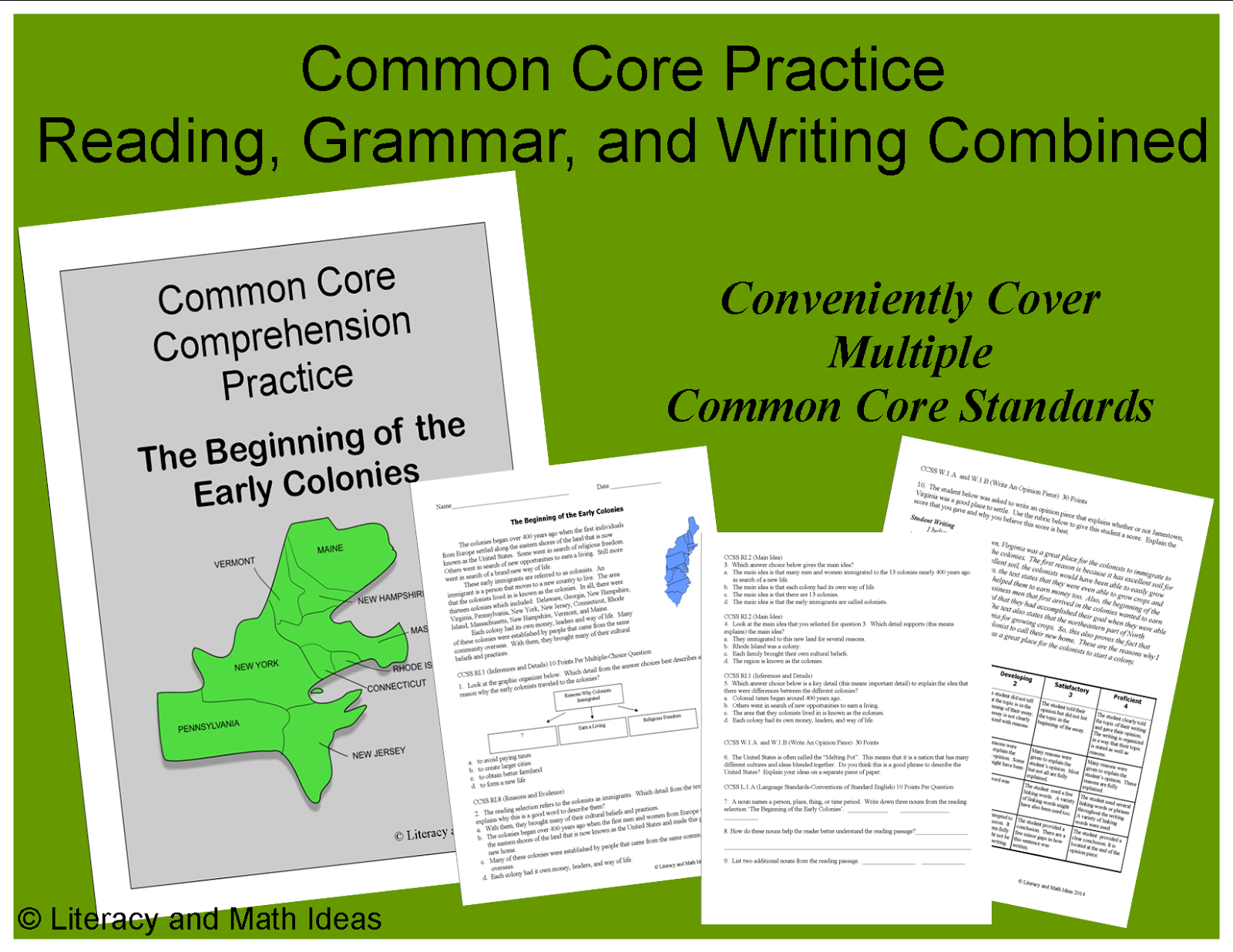 Common Core Reading Social Stu S And Grammar Practice
