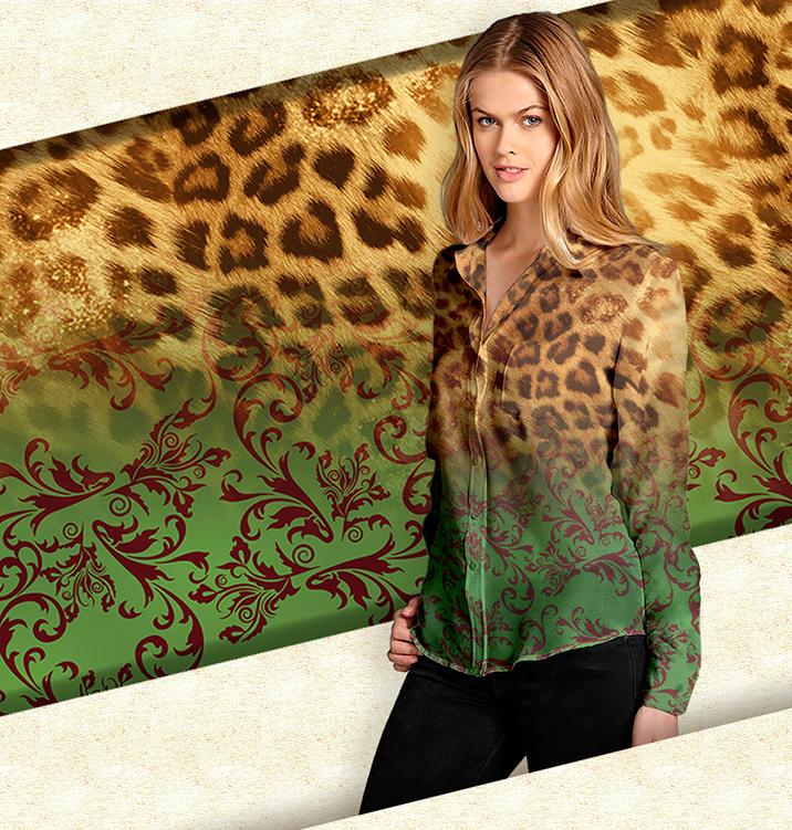 Estampa para aplicação em camisa feminina de chiffon através de sublimação. Winter 2013.
