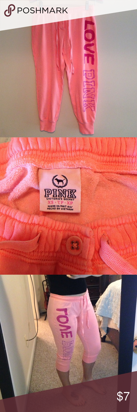 Pink Cropped Sweatpants Bright Orangish Color Meant To Be Semi Faded With