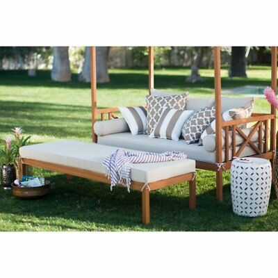 Details about Khaki Cushion Patio Daybed Ottoman Set ... on Belham Living Brighton Outdoor Daybed  id=64332