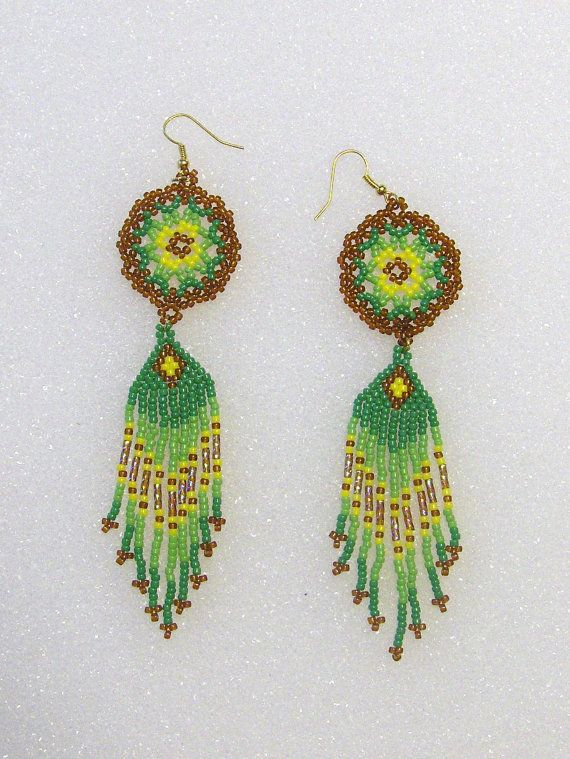 Beaded Dangle Earrings In Greens Brown Yellow by TheBeadedDiamond
