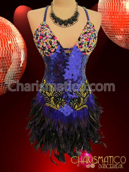 58b7dfe00 Burlesque Dress, Salsa Dress, Feather Dress, Salsa Dancing, Fringe Skirt,  Black