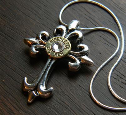 Women's Fleur Cross Bullet Necklace