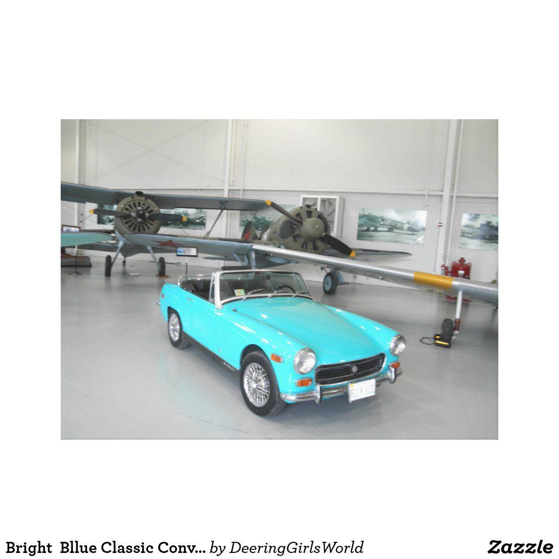 Bright  Bllue Classic Convertibe Car Canvas Print | Zazzle.com