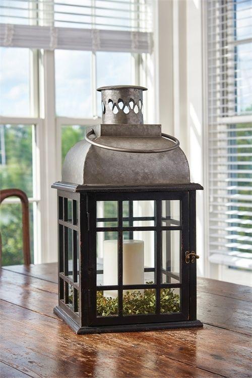 Farmhouse Cottage Style Large Black Lantern Tin Top Glass Antique Inspired Decor Farmhousecottagest Large Lanterns Floor Lanterns Primitive Decorating Country