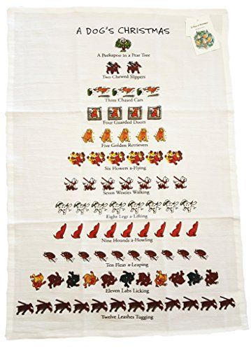 Twelve Days Of Dog Lovers Christmas Flour Sack Kitchen Dish Towel  18 x 26 >>> Details can be found by clicking on the image.