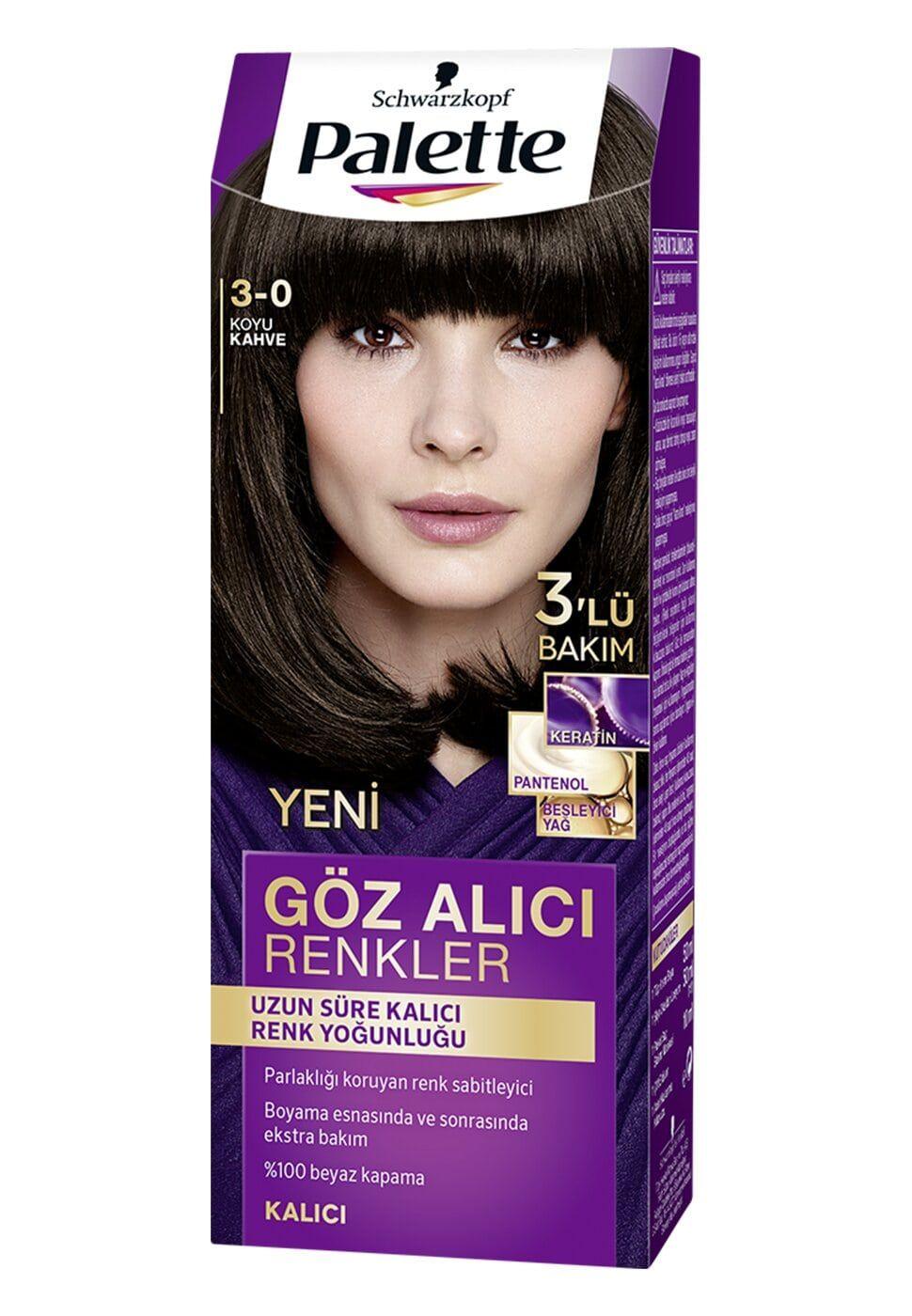 Schwarzkopf Palette Yogun Goz Alici Renkler Sac Boyasi 3 0 Koyu
