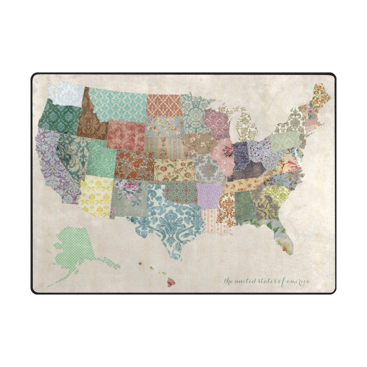 Amazon my daily the united states of america map floral area amazon my daily the united states of america map floral area rug 4 gumiabroncs Images