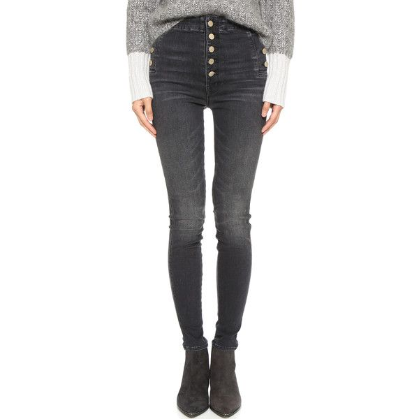 J Brand Natasha Sky High Skinny Jeans ($270) ❤ liked on Polyvore featuring jeans, anthracite, j brand, j-brand skinny jeans, high waisted denim skinny jeans, frayed jeans and high-waisted skinny jeans