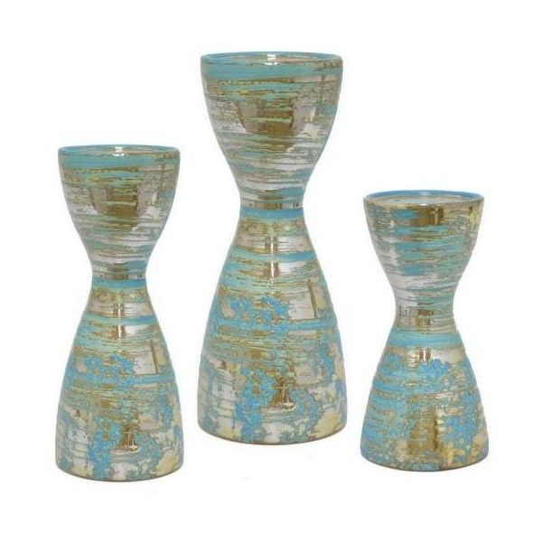Three Hands 95096 Three Piece Ceramic Candle Holder Set N/A Home Decor ($45