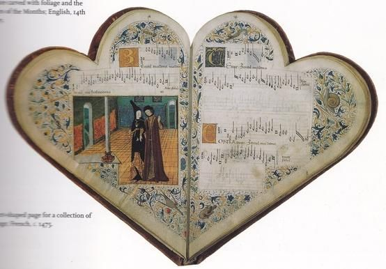 French music book from c. 1475. Heart-shaped.