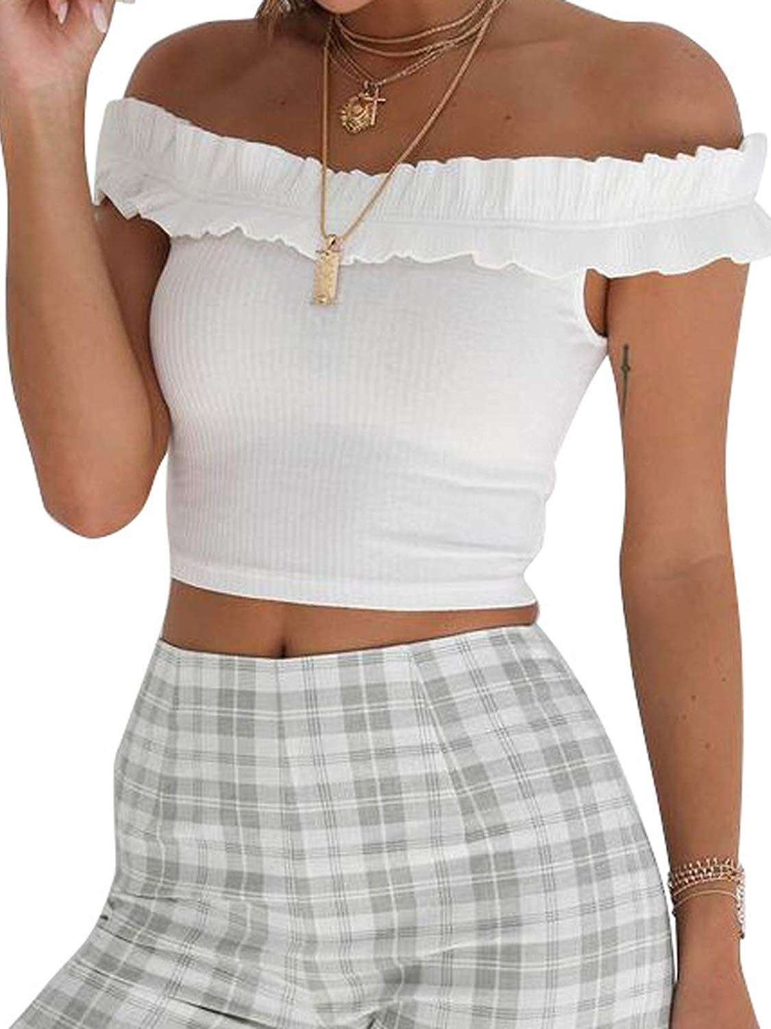 bda6882cb57 $12.88 Govc Women's Off Shoulder Crop Tops Sexy Short Sleeve Strapless  Ruffle Smock Slim Tees at Amazon Women's Clothing store:
