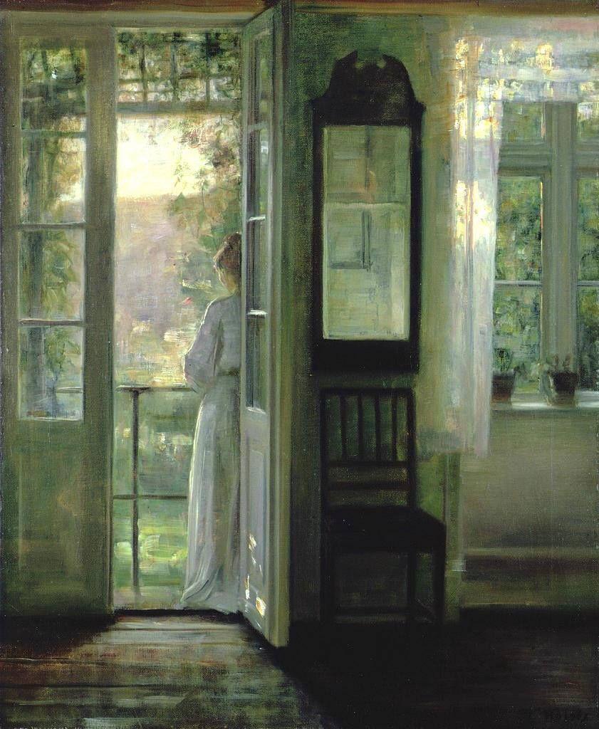 "Girl Standing on a Balcony"" by Danish painter Carl Vilhelm Holsøe (1863-1935)."