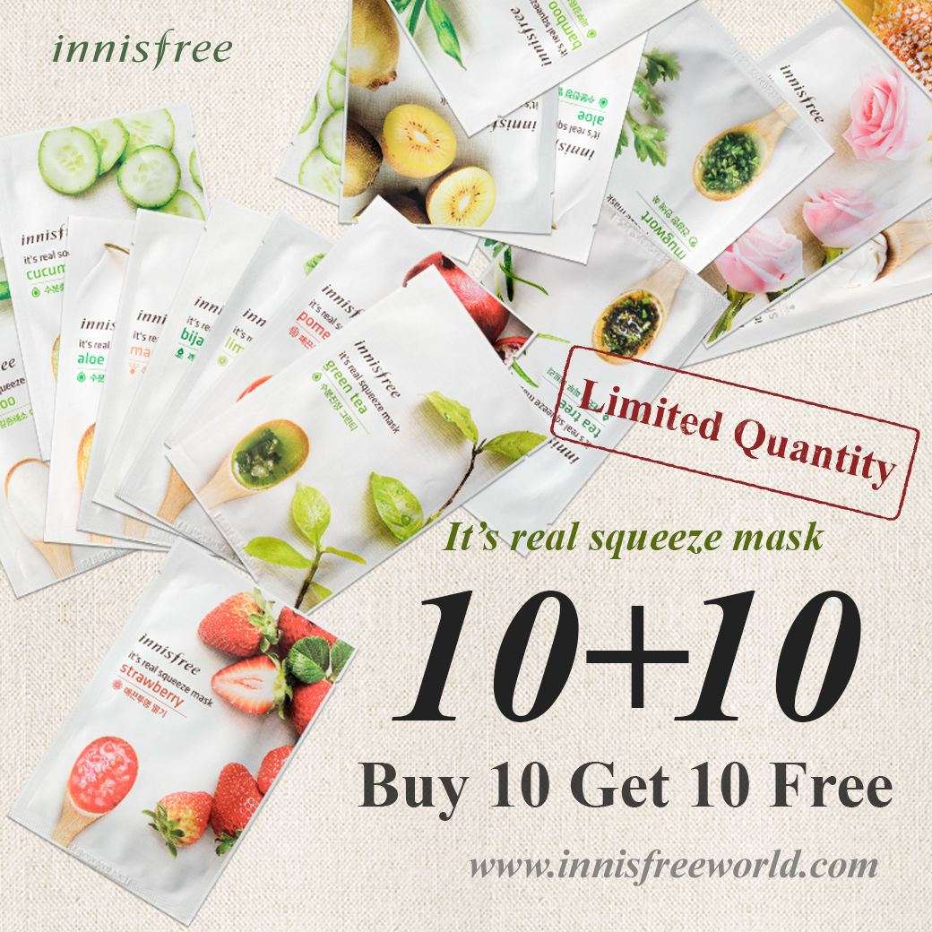 Innisfreeworld Its Real Squeeze Mask 10 Promotion On Going Innisfree Strawberry Skincare Homecare