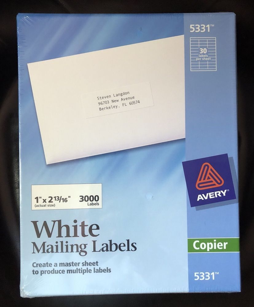 """NEW Lot 4 Packages AVERY 5331 White Mailing Labels 1""""x 2"""
